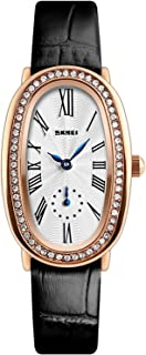 Vintage Roman Numeral Watch Women Leather Waterproof Rose Gold Tone White Dial Strap Oval Dress Wrist Watch