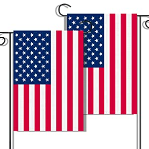 """2 Pack Vertical American Flag Garden Flags, 12"""" x 18"""" Double-Sided Patriotic Garden Flag Vibrant Color, Memorial Day 4th Of July Banner Outdoor Decor Yard Sign"""