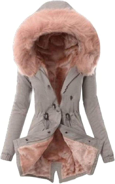 Women Coat Fleece Lined Outdoor Hooded Faux Fur Warm Down Jackets,4,XX-Large
