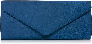 VINCENT PEREZ, Clutch, Abendtaschen, Umhängetaschen, Unterarmtaschen aus Satin, mit abnehmbarer Kette (120 cm), 26x10x5,5 ...