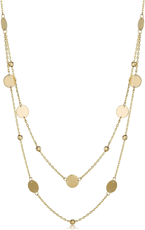 Kooljewelry 14k Yellow or Rose Gold Layere and Beads Round Ranking TOP4 Regular dealer Discs