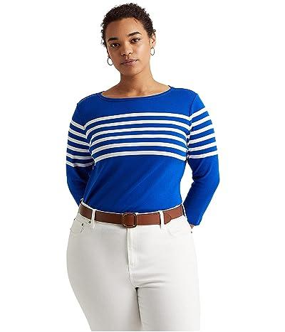 LAUREN Ralph Lauren Plus Size Striped Cotton Boatneck Top