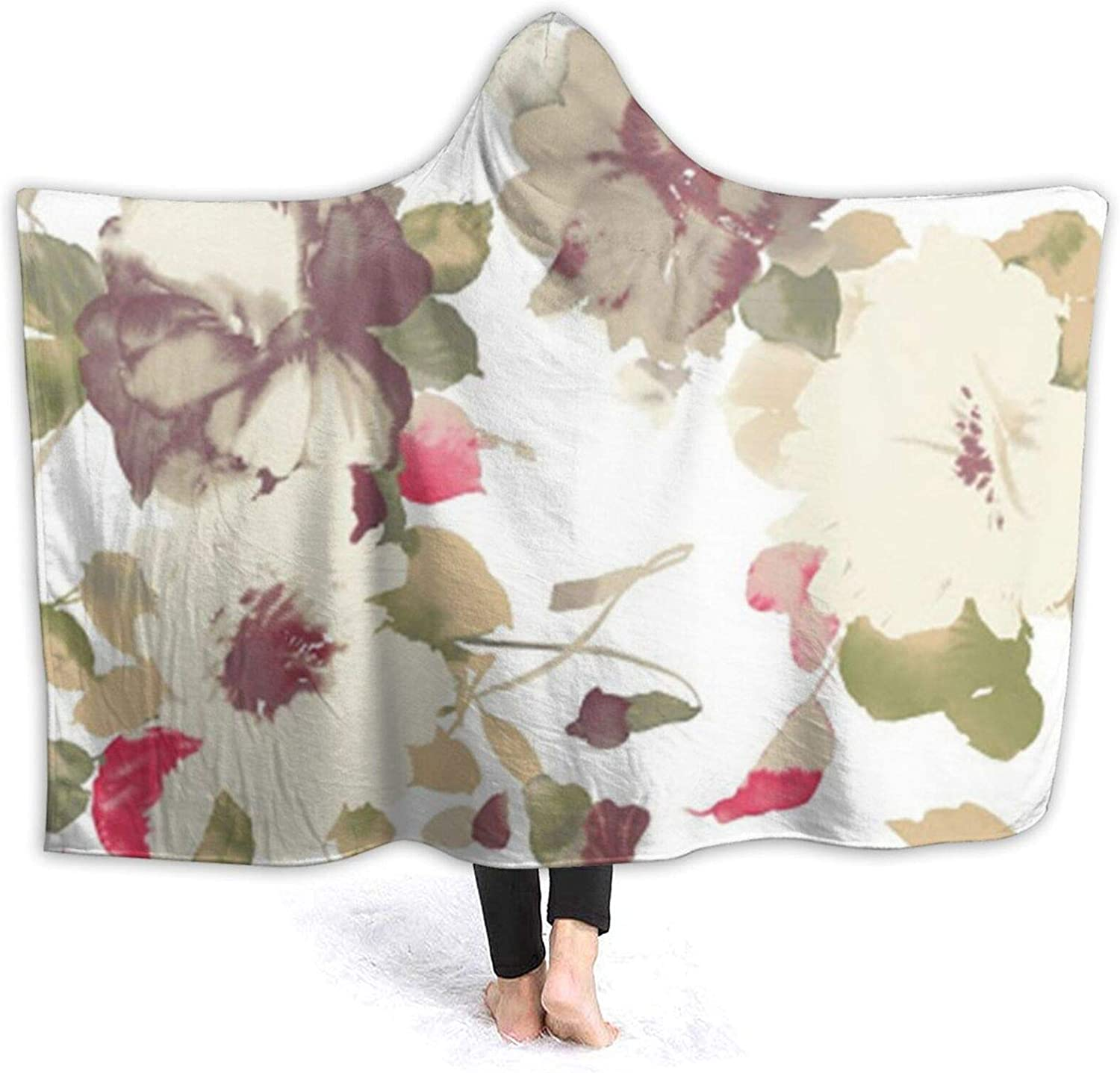 NSKJHYIp Flower Beige White Wearable Throw for Hooded New product Recommendation Super Soft