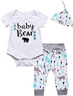 Baby Boys Girls Outfit Set Cute Bear Short Sleeve Romper