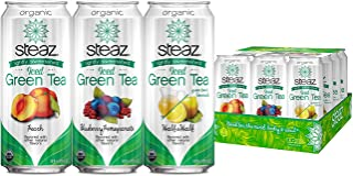 Steaz Organic VARIETY PACK Iced Green Tea 12/16 OZ