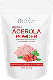 Wilson Naturals Organic Acerola Powder (Non-GMO) – Vitamin C Powder with Immune Factors Made from Wholefood Acerola Cherry. No Additives and Natural Minerals and Citrus Acid 454 Gram (114 Servings)