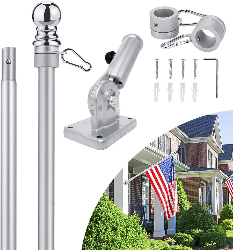 Somtton Heavy-Duty Flag Pole with Bracket,6FT Flagpole Kit for House American Flag, Rustproof, Aluminum Professional Flag Pole for Garden Yard,Home or Commercial Outdoor Wall-Mounted Flagpole