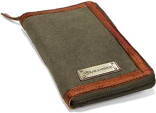 DRAKENSBERG Travel Wallet - Reise-Geldbörse und Reisepass-Etui, Organizer für Dokumente, handgemacht im Vintage-Retro-Design, Canvas und Leder, Olivgrün, DR00171