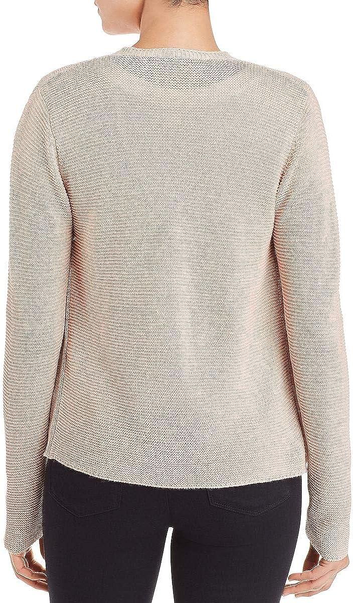 Eileen Fisher Womens Linen Blend Drape Front Cardigan Sweater Tan L