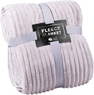 GREEN ORANGE Fleece Throw Blanket for Couch – 50x60, Pearl Grey – Soft, Plush, Fluffy, Warm, Cozy – Perfect for Bed, Sofa