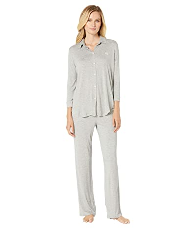 LAUREN Ralph Lauren His Shirt Long Pajama Set (Grey Dot) Women