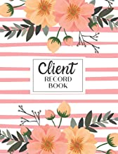 Client Record Book: Personal Client Tracking Log with A-Z Alphabetized Tabs for Hair Stylists, Barbers, and More Pink Stripe with Flower Border