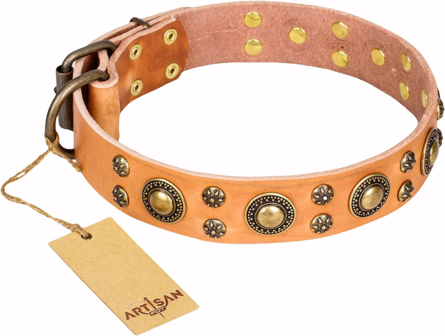 36 inch Tan Leather Dog Collar with Brass Plated Decorations   Sophisticated Circles  Handcrafted by Artisan