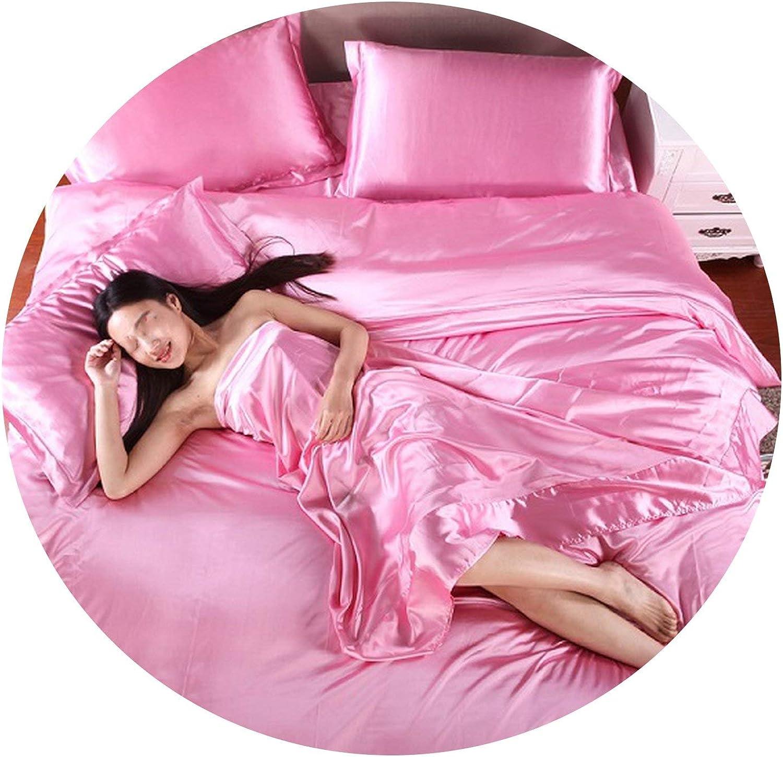 Pure Satin Silk Bedding Set,Home Textile King Size,Duvet Cover Flat Sheet Pillowcases,Pink,King 4pcs