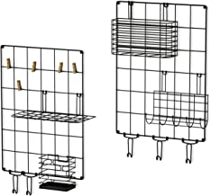 Love-KANKEI Wall Grid Panel Wire Grid Panel Set of 2 for Wall Decoration or Organization, 5 Hooks and 5 Clips 1 x Letter Frame, 1 x Hanging Basket, 1 x Pen Holder and 1 x Hanging net