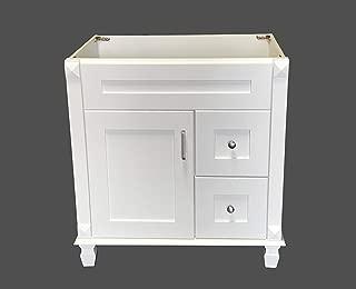 White Shaker solid wood Single Bathroom Vanity Base Cabinet 30