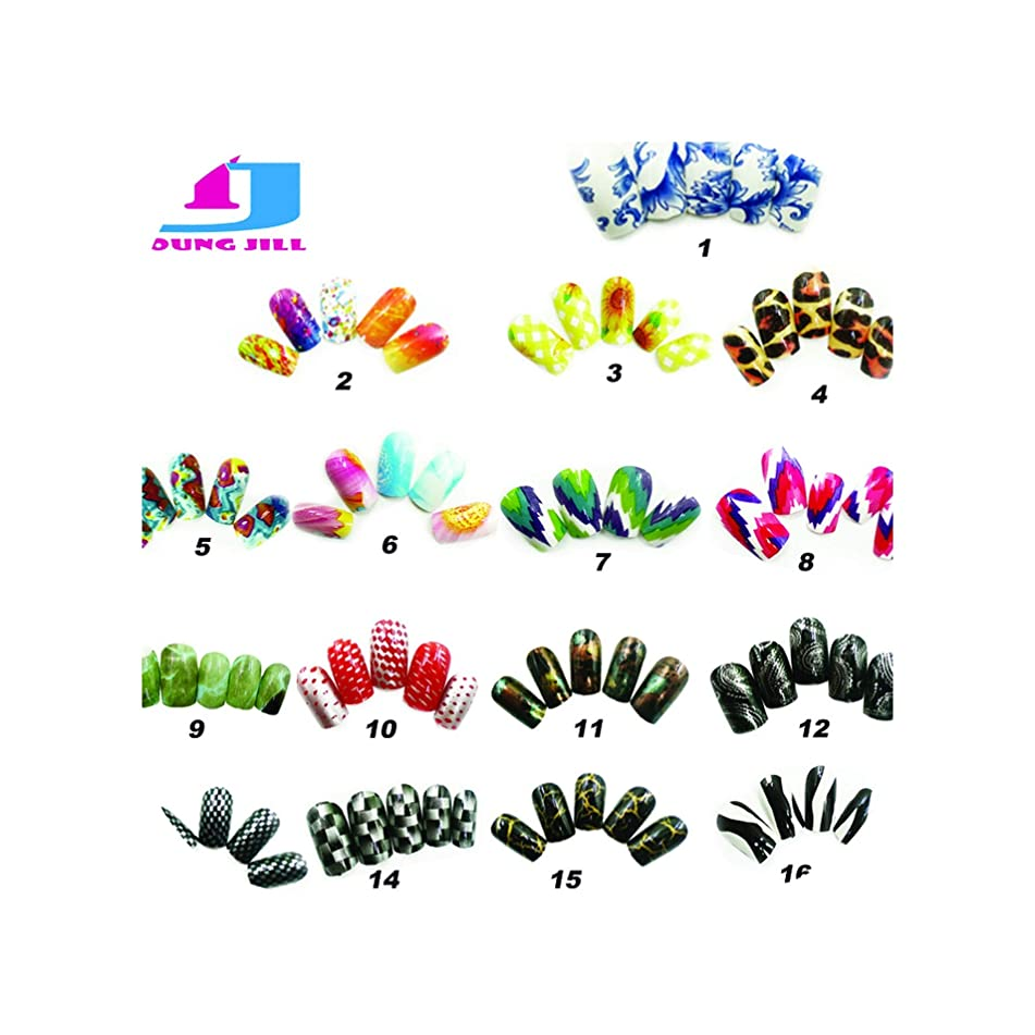 Art Fake Nails Full Cover 12pcs/set Colorful Artificial Plastic UV Gel Nails Free With Glue,8