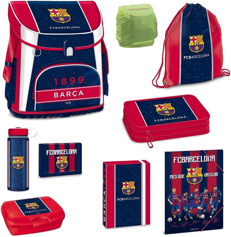 Familando FC Barcelona Schulranzen Set 9tlg. Turnbeutel Federmappe Dose Dose Dose Flasche Regen- Sicherheitshülle B0793RXRGD | König der Quantität  f683cd