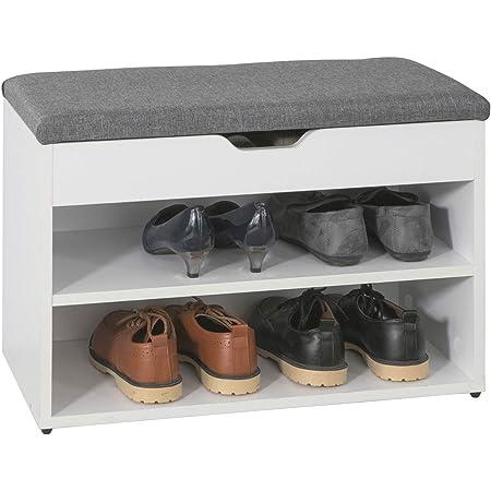 SoBuy FSR25-HG Banco Zapatero Armario zapatero,banco,estantería para zapatos,blanco,60 x 30 x 43 cm,ES