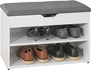 SoBuy® FSR25-HG Banc de Rangement à Chaussures 2 étages avec Coussin Rembourrée Commode à Chaussures Confortable L60m x P3...