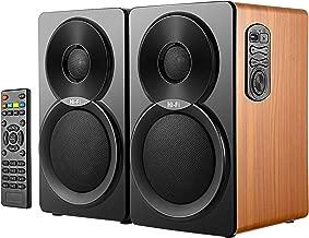 Ayshone Bookshelf Speakers 60W Powered Bluetooth Home Theater Speaker-5 Inch Near Field Speaker-Support USB 3.5mm AUX in 2.0 Wooden Speaker