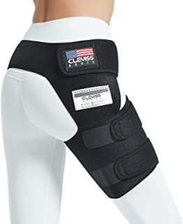 Cleviss Brace Groin Support Wrap | Hip Brace for Pulled Quadriceps Thigh Muscle | For Sciatica Nerve Pain Relief Hip Flexor Strain | Bursitis and Arthritis Compression SI Belt Sleeve For Men and Women