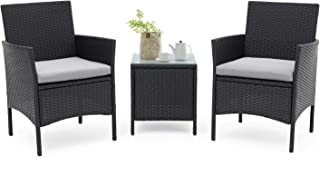 SUNCROWN Outdoor Furniture 3 Piece Patio Bistro Set 2 Chairs with Glass Top Table All-Weather Black Wicker and Thick Cushions, Garden, Backyard
