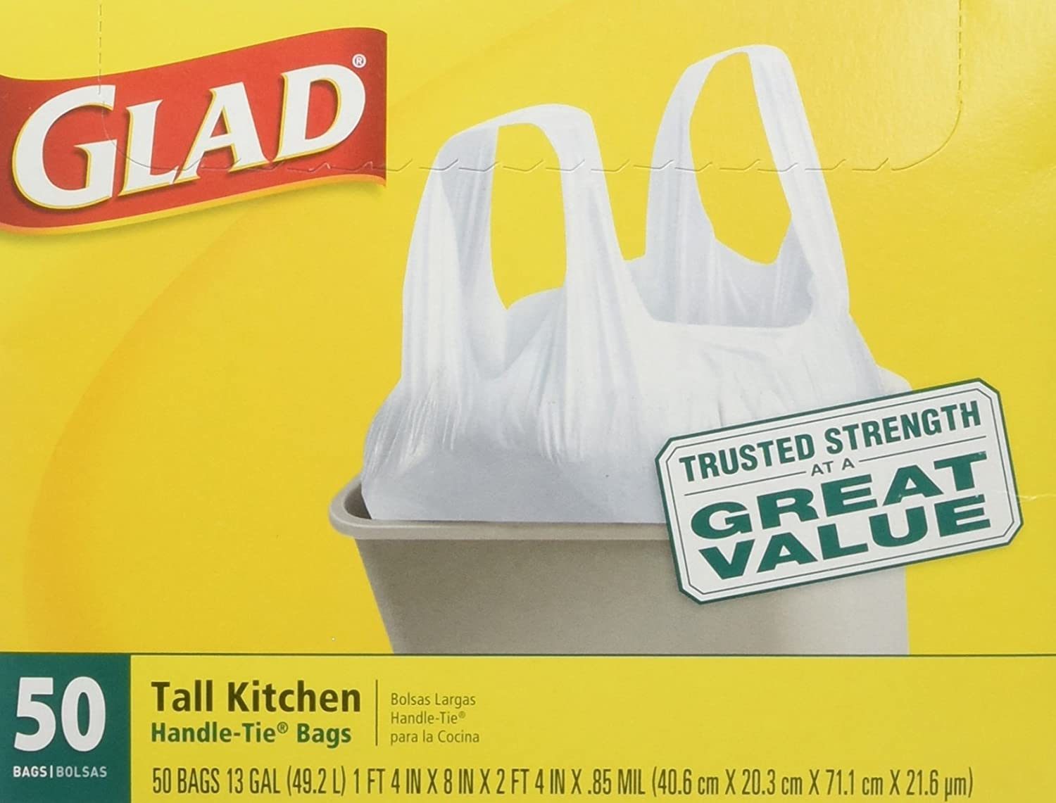 Glad 13 Gal. Tall Kitchen Handle-Tie Bags 50 ct (Pack of 4)