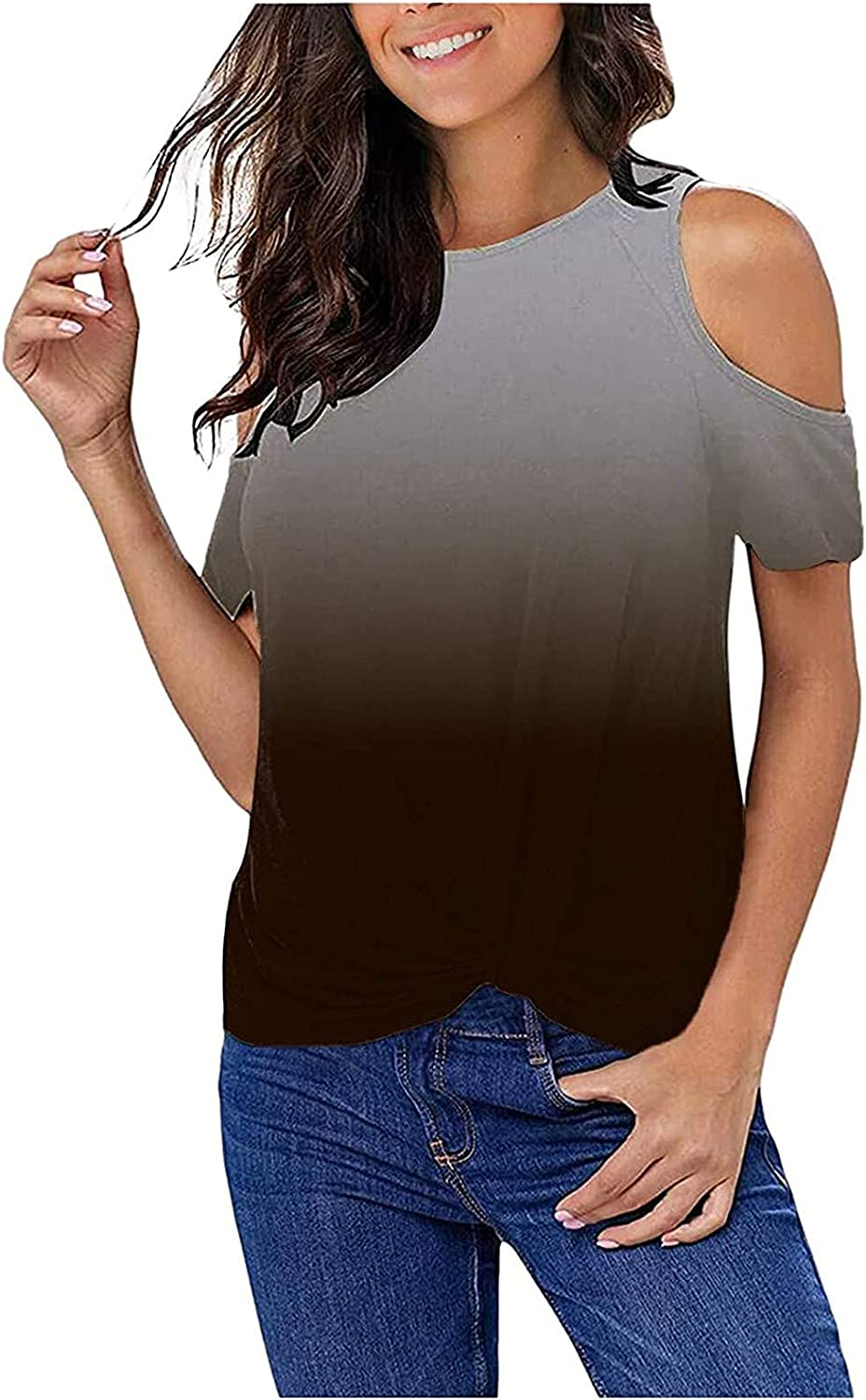 Women's Casual Twist Max Quality inspection 52% OFF Knot T-Shirts Top Summe Shoulder Cold Basic