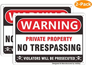 No Trespassing Signs Private Property, Keep Out Warning Metal Yard Signs, Aluminum Sign for Garden Outdoor Indoor Gates, Long Lasting Weather Resistant Ink (Black No Trespassing Sign)