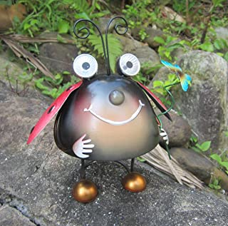 Metal Garden Art Decoration, Steel Ladybird Figurine with Solar Powered Animal Lights for Garden Patio and Lawn Decor and Yard ornaments