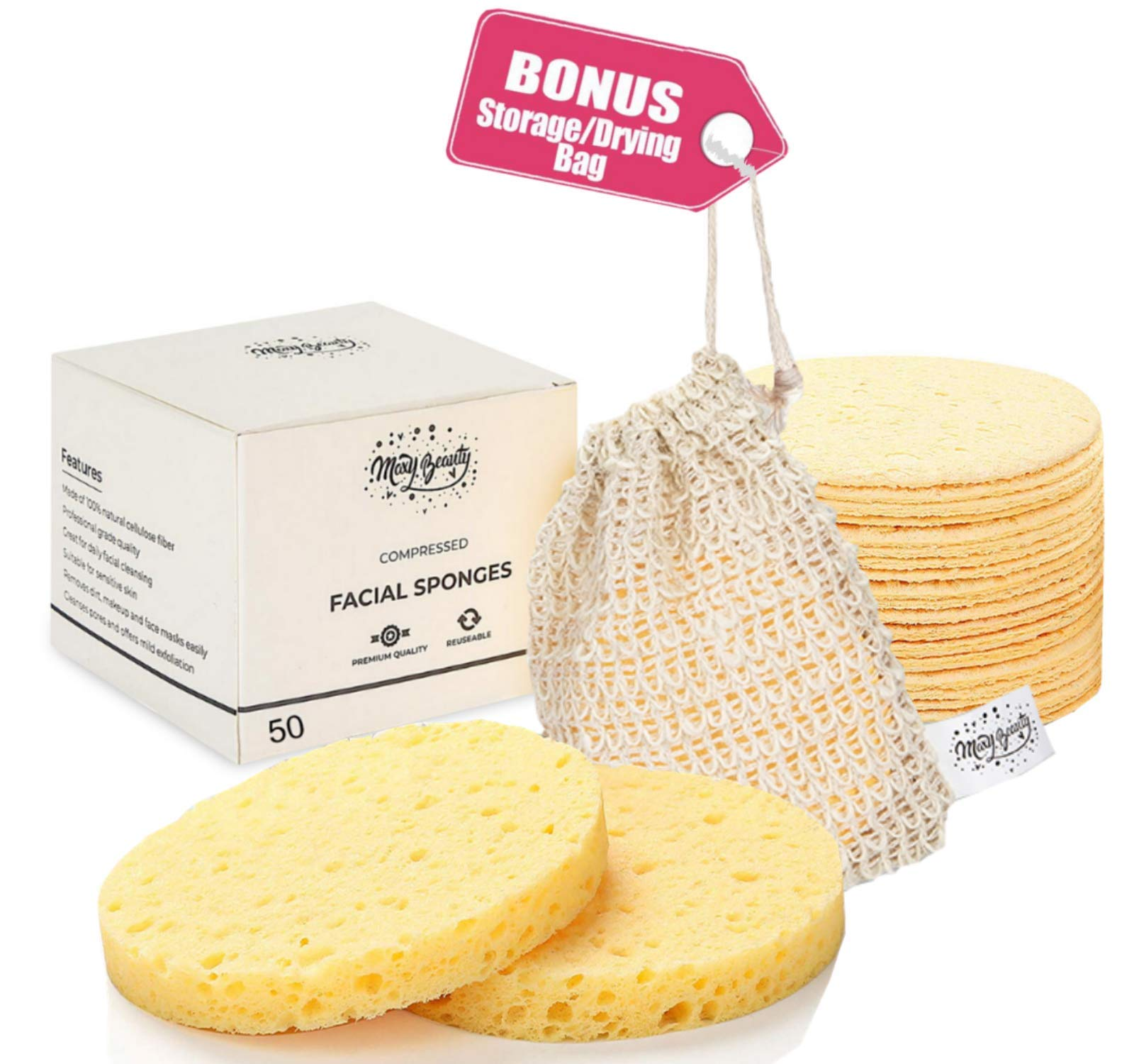 Facial Sponges Bigger Size 100 Natural Compressed Odorless
