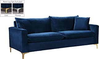 Meridian Furniture Naomi Collection Modern | Contemporary Navy Velvet Upholstered Sofa with Stainless Steel Base in a Rich Gold or Chrome Finish,