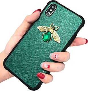KERZZIL iPhone Xs/X Case, Shockproof Glitter Sparkle Bling 3D Diamond Matel Bee for Girls Women, Faux Leather Soft Bumper ...