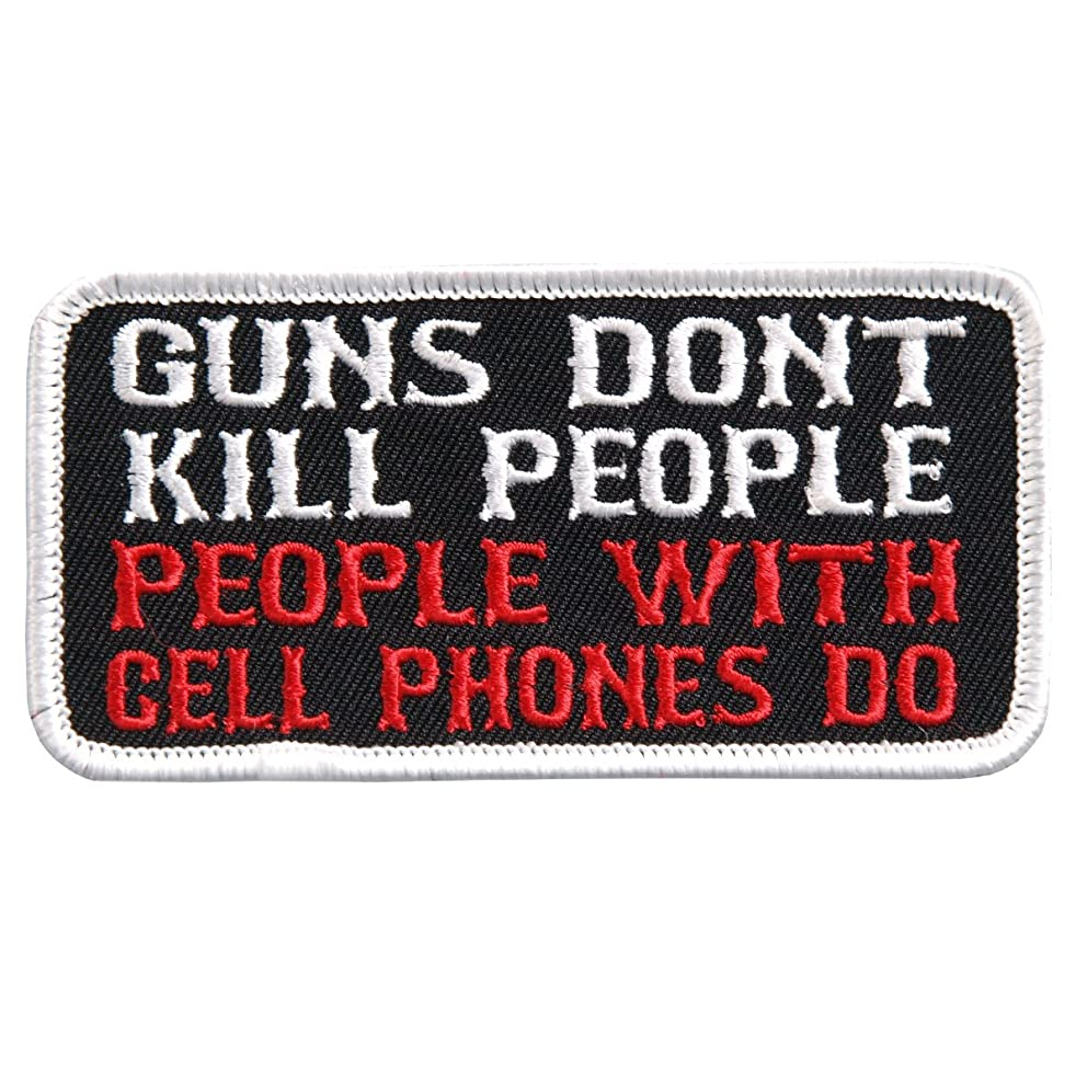 Hot Leathers, GUNS DON'T KILL PEOPLE WITH CELL PHONES DO, Iron-On / Saw-On Rayon PATCH - 4