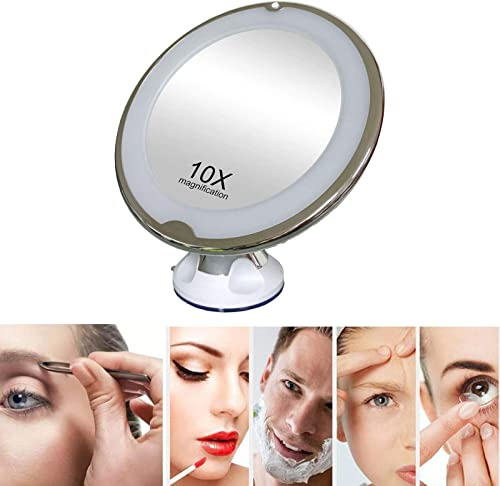 """high quality 10X Magnifying Makeup Mirror LED discount outlet online sale Natural Daylight Lighted Mirror Vanity Mirror 8"""" Glass, Easy-Lock Suction Cup 360 Degree Rotation Cordless Travel Bathroom Compact Mirror online"""