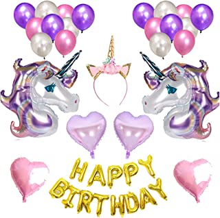 Van Caro Unicorn Balloons Girl's Birthday Party Decorations 38 Pieces (Bursting)