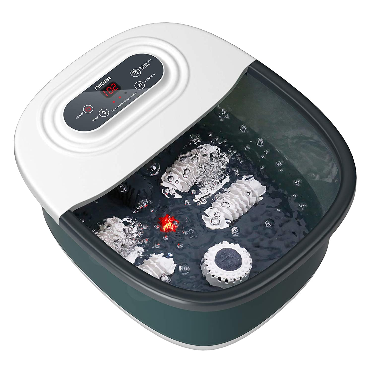 Foot Spa Bath Massager with Heat, Bubbles, Vibration and Red Lig