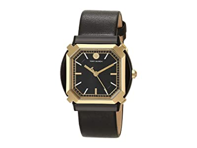 Tory Burch Blake Leather Watch (Black) Watches