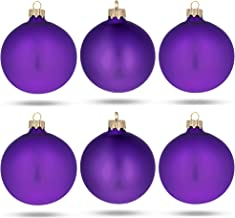 BestPysanky Set of 6 Purple Matte Glass Ball Christmas Ornaments 3.25 Inches