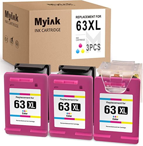 new arrival MYIK Remanufactured Ink Cartridge for HP 63XL 63 XL Eco-Saver sale to use with OfficeJet 3830 3831 4650 4655 Envy 4520 4516 DeskJet 1112 2130 lowest 2132 3630 3633 (1 + 2 Pack) outlet sale