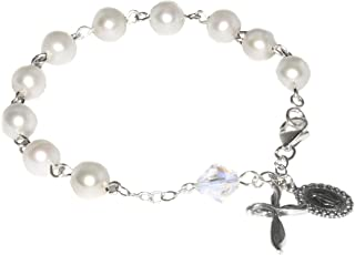 Womens Rosary Bracelet made with White Pearlized Swarovski Crystal Elements (Wedding, Confirmation, Christmas, Easter, Mother's Day & More)