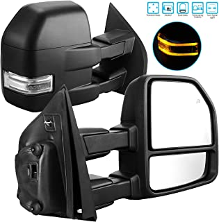 AUTOSAVER88 Towing Mirrors for Ford F150 2015-2017 Pair of Exterior Automotive Power Heated Black Housing Replacement Tow Mirrors with Signal Indicator