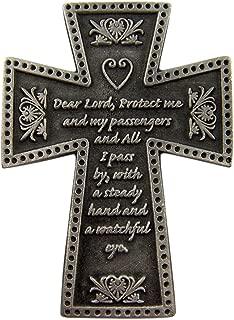 Fine Pewter Catholic Motorist Prayer Cross Auto Visor Clip, 2 1/4 Inch