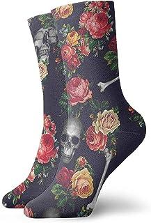 GHJL, Calcetines atléticos con diseño de Calaveras y Flores, 30 cm
