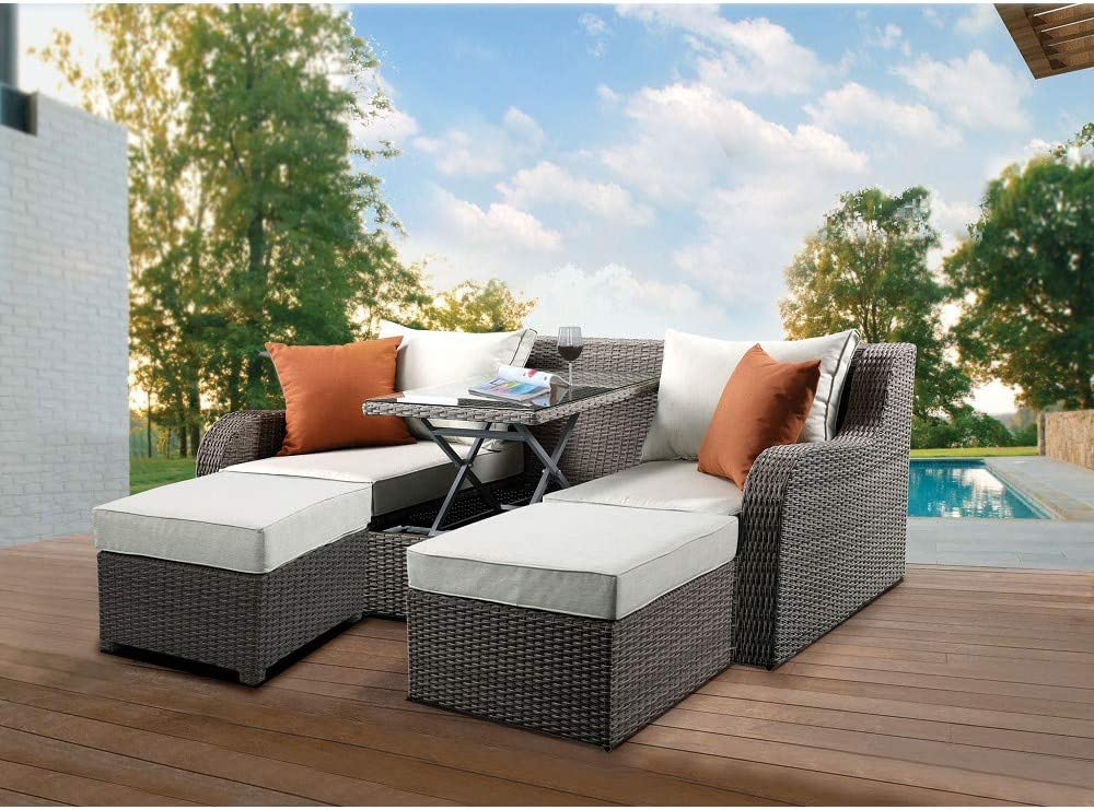 Outdoor Patio Rattan trust Furniture Sofa Regular store Chaise Sectional