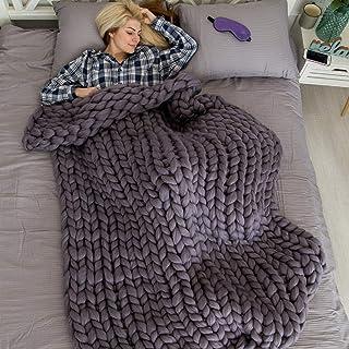 eacho Chunky Knit Blanket Soft Bulky Hand Made Throw for Bedroom Sofa Decor Super..