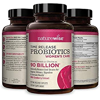 NatureWise Probiotics for Women   Time-Release Probiotic Supplement Comparable to 90 Billion CFU   Cranberry & D Mannose for Vaginal, Urinary, Digestive & Immune Health (Packaging May Vary) [1 Month]