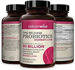NatureWise Probiotics for Women | Time-Release Probiotic Supplement Comparable to 90 Billion CFU | Cranberry & D Mannose f...