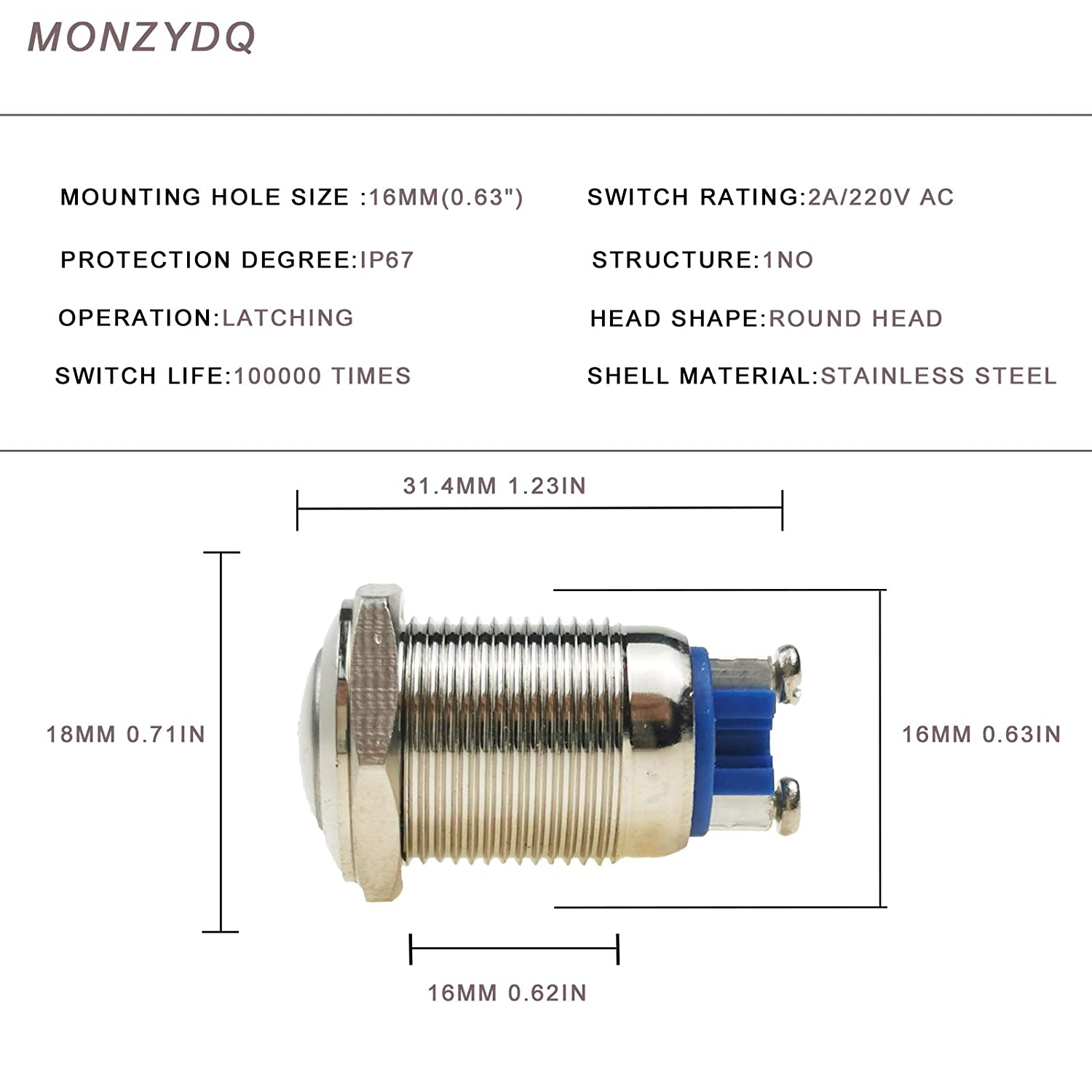 High Round Head MONZYDQ 5Pcs 16mm5//8 Momentary Push Button Switch,Waterproof Metal Pushbutton 220V AC 2A Self-Reset for Car Modificine.